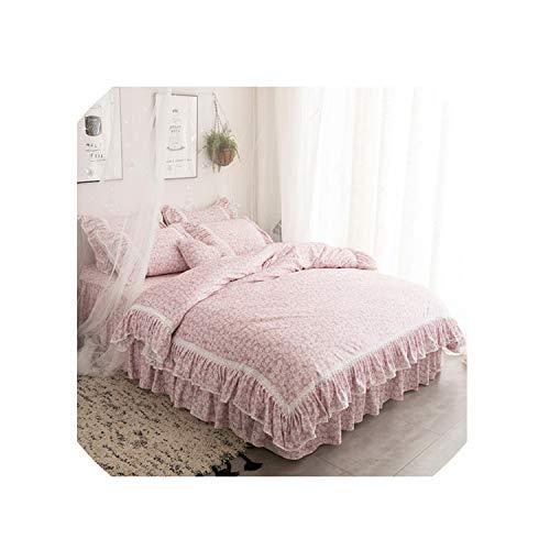 The Fairy 47Pcs Pink Blue Twin Queen King Size Girls Princess Korean Bedding Set Winter Warm Fleece Duvet Cover Bed Skirt SetColor 1Super King Size 7Pcs
