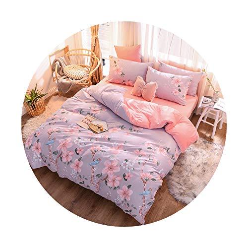 sunshine-xj 3pcs4pcs Cotton Bedding Sets Coral Fleece Duvet Cover Flat Sheet Pillowcase Winter Warm Flannel Bed Set Kids Bedding Sets15for 15-18M Bed-4pcBed Sheet