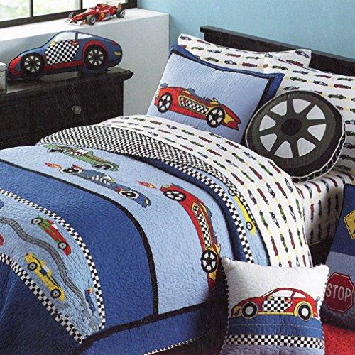 HNNSI Cotton Kids Quilt Bedspread Set for Boys 2PCS Twin Size Sports Car Boys Comforter Bedding Sets Teens Children Quilt SetsSports Car