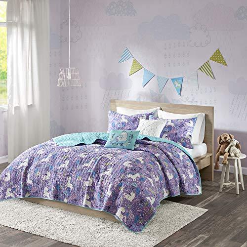 Urban Habitat Kids Lola FullQueen Bedding for Girls Quilt Set - Purple Aqua Unicorns - 5 Piece Kids Girls Quilts - 100 Cotton Quilt Sets Coverlet