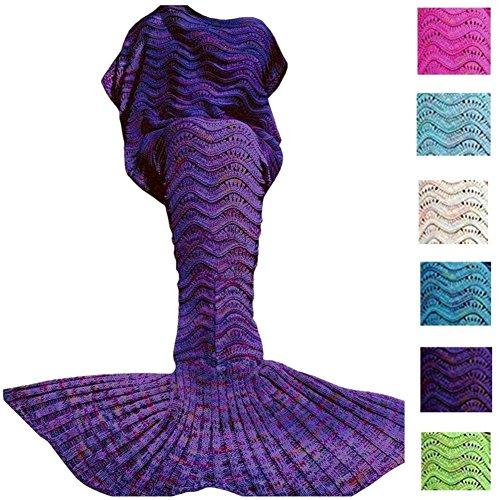 Fu Store Purple Mermaid Tail Blanket For Kids Teens Adult Handmade Wave Mermaid Blankets Crochet Knitting Blanket Seasons Warm Soft Sleeping Bag Best Gift for Birthday Christmas 71x35