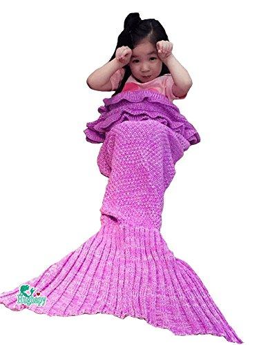 Hughapy Mermaid Blanket Kids Knitted Sleeping Bag Sofa Falbala Mermaid Tail Bed Throw Blanket 55x28 Light Pink