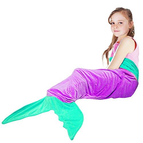 Mermaid Tail BlanketTysonir Super Soft and Warm Shark plush blanket Seasons Warm Soft Sleeping Bag Present for Girls kids Purple