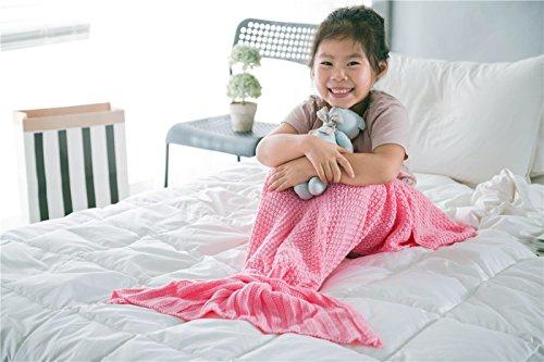 ROSEER Handmade Knitted Mermaid Tail Blanket Crochet and Mermaid Blanket for Kids Super Soft All Seasons Sleeping Blankets 55x27 pink