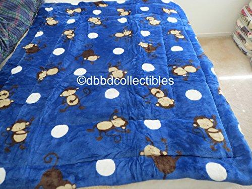 2-ply Sherpa Baby Blankets for Toddler Boys 40x50 Plush Toddler Boy Blankets--Monkey