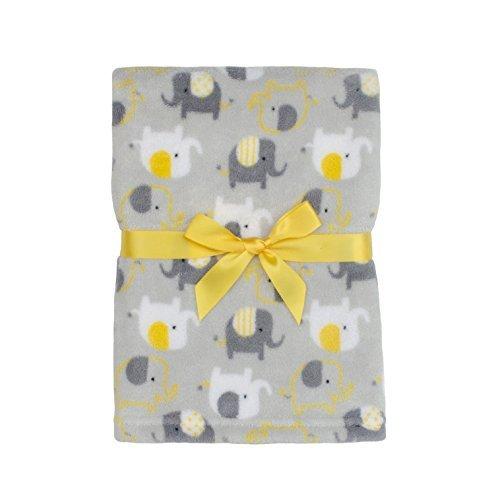 Baby Gear Plush Boa Ultra Soft Baby Boys Blanket 30 x 40 Grey Yellow Elephants by Baby Gear