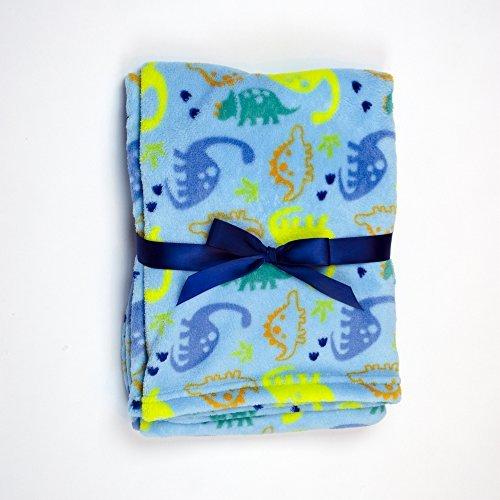 Baby Gear Plush Velboa Ultra Soft Baby Boys Blanket 30 x 40 Blue Dino Dudes by Baby Gear