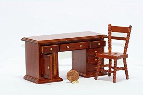 Dollhouse Miniature 112 Scale Cherry Wood Desk Chair Set
