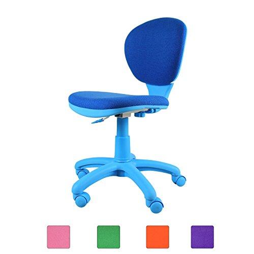 Emall Life 360 Ergonomic Adjustable Swivel Chair Mid-back Armless Fabric TaskOfficeComputerDesk Chair OrangeGreenBluePurplePink Blue