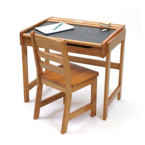 Lipper International 554P Childs Chalkboard Desk and Chair Set Pecan