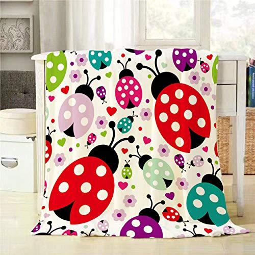Mugod Ladybug Throw Blanket Seamless Kids Lady Bug Polka Dot Hearts Flowers Pattern Decorative Soft Warm Cozy Flannel Plush Throws Blankets for Baby Toddler Dog Cat 30 X 40 Inch