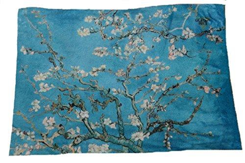 GOLDENPIECEAlmond Blossom masterpiece print mini blanket 29 x 40inch-ultra soft microfiber safe to atopi skindeep black package
