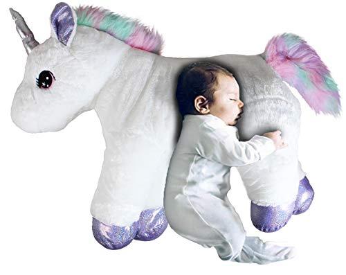 GRIFIL ZERO XXL Size Unicorn Stuffed Animal Pillow Plush Toy Kid Babies Nursery Room Decoration Huge Big Large Doll Silver