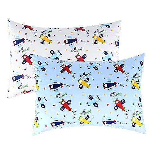 IBraFashion Kids Pillowcases Standard Size for Boys 100 Cotton Soft Cute Blue Airplane Printings 2 Packs