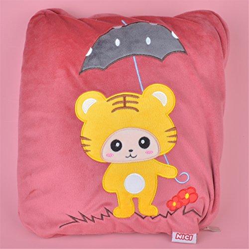 Little Tiger Soft Cartoon Blankets 2 in 1 Multi-funcation Fleece Pillow Quilt Gift