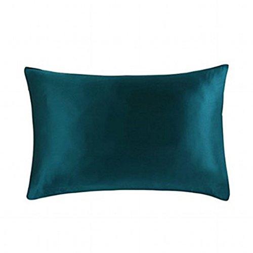 MEILIS Dark Green Silk Pillowcase for Toddler Pillows 14in x 19in Travel Pillow Cover