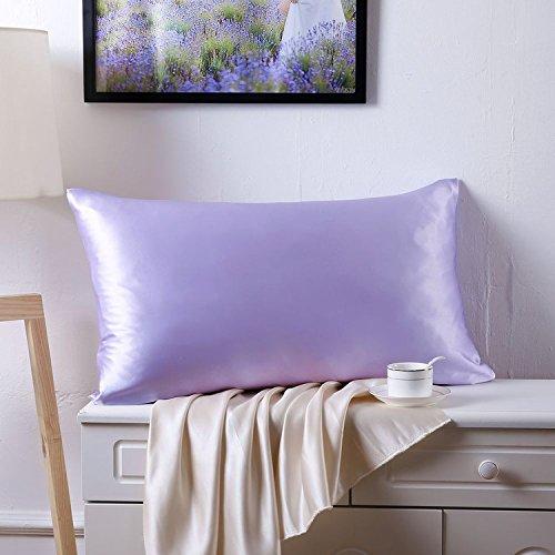 YONDER 100Pure Silk Facial Beauty PillowcaseStandardQueen Size Lilac Mulberry Silk Pillowcase with Hidden Zipper 19mm