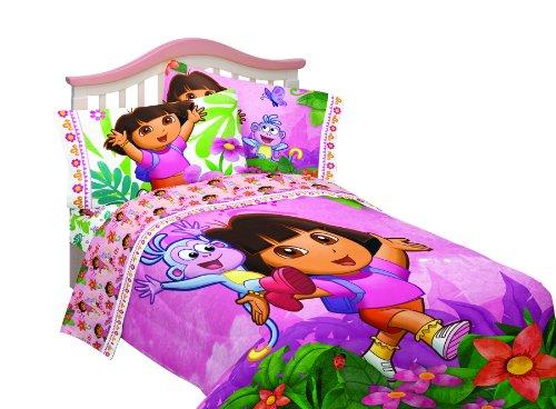 Nickelodeon Dora Run Skip Jump Microfiber Sheet Set Full