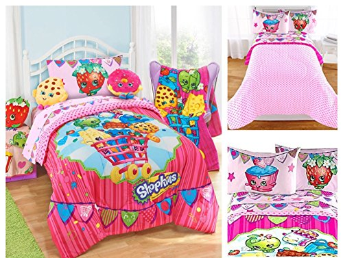 Shopkins Kids 4 Piece Bed in a Bag Twin Bedding Set - Reversible Comforter Microfiber Sheets Pillow Case by Moose Shopkins