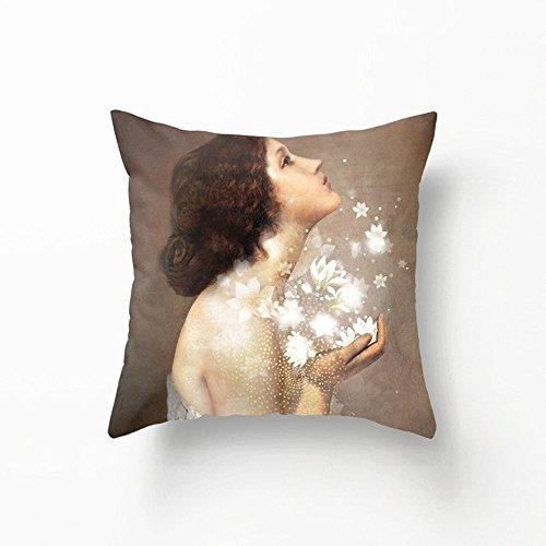 CSSaleStore Cotton Linen Square Decorative Pray Girl Pillowcase H621