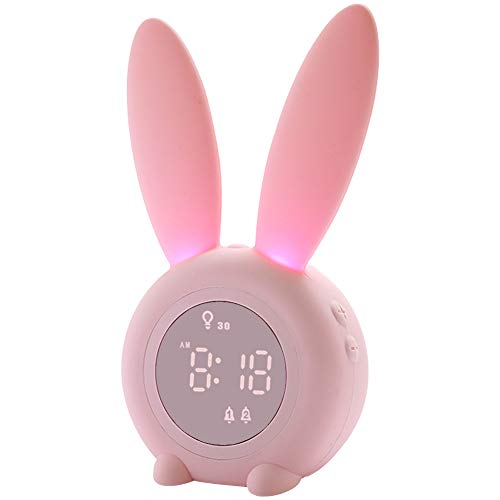 Kids Alarm Clock for Kids Childrens Alarm Clocks for Girls Boys Bedroom Night Light for Kids 5 Ringtones Touch Control and Snoozing with 2000mAh Rechargeable Kid Alarm Clocks