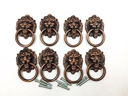 Dresser Drawer Cabinet Door Ring Lion Head Pull Handle Knob 8pcs A