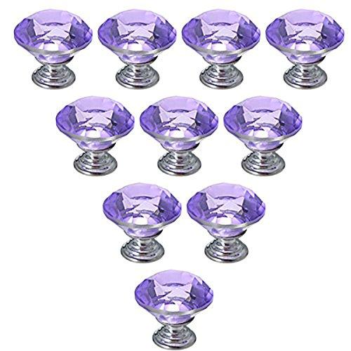 Dresser Knobs YIFAN 10Pcs 30mm Crystal Glass Diamond Shape Cabinet Knobs Cupboard Drawer Pull Handles - Purple