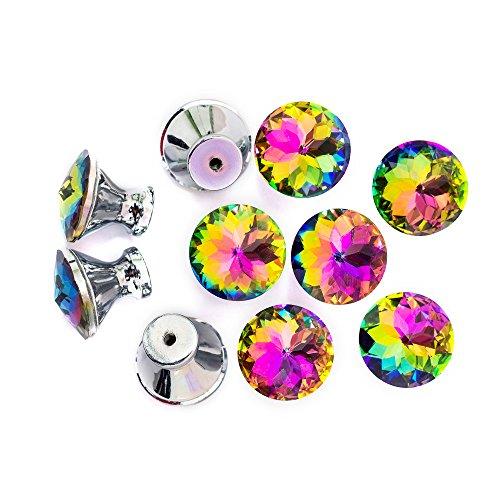 Spriak Cabinet Dresser Crystal Glass Drawer Hardware Cupboard Wardrobe Knobs Door Pull Handle10 PcsPackage 30mm Rainbow Color