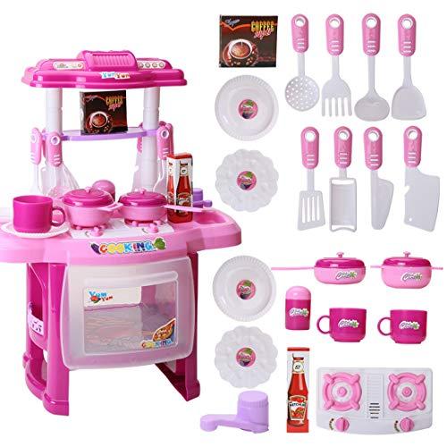 FenglinTech Play Kitchen Set 23Pcs Kids Toy Kitchen Set with Music and Light