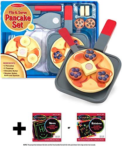 Melissa Doug Flip Serve Pancake - Wooden Play Food Set  Free Scratch Art Mini-Pad Bundle