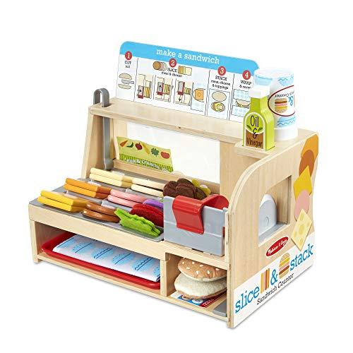 Melissa Doug Wooden Slice Stack Sandwich Counter with Deli Slicer - 56Piece Pretend Play Foodpiece
