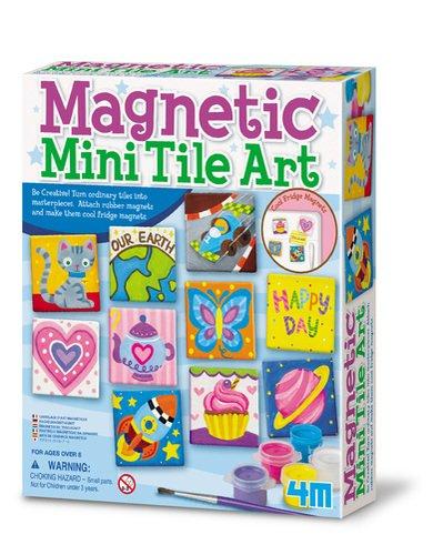 4M Magnetic Mini Tile Art - DIY Paint Arts Crafts Magnet Kit for Kids - Fridge Locker Party Favors Craft Project Gifts for Boys Girls