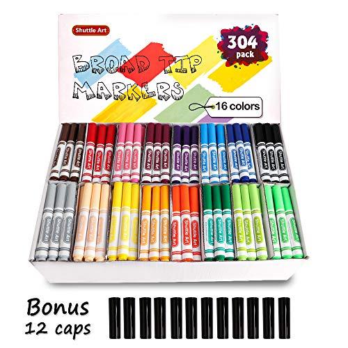 Shuttle Art 304 Pack Markers Bulk 16 Assorted Colors Broad Line Classpack Markers Classroom School Supplies for Teachers Kids
