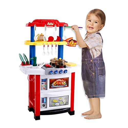 Goutique ChildrenS Toys Kitchen Large Sound And Light Simulation Cooking House Fashion Multi-Function Puzzle Kitchen Set