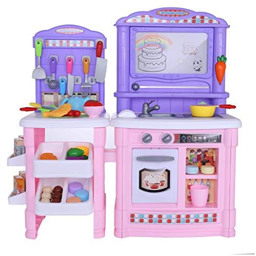 Kitchen PlaysetKids Kitchen Pretend ToysPlastic Play Kitchen Toddler Pretend Play Set Kitchen Cooking Toy Set Fun with Friends Kitchen for Children Boys and Girls A
