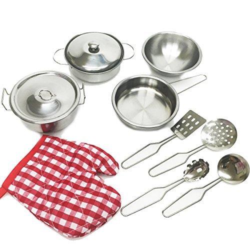 Apontus Kids Metal 11 PCS Pretend Kitchen Cooking Play Set Pots Pans Utensils Chef Cookware