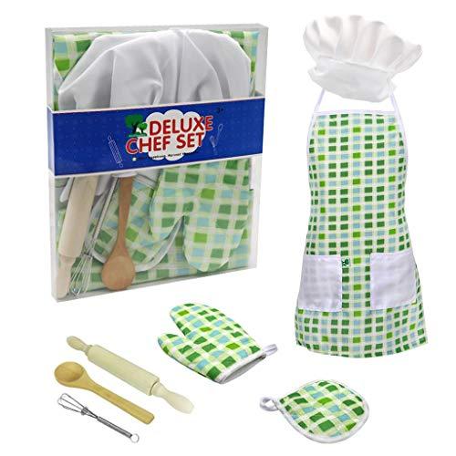 Barlingrock 7pcs Kids Cooking and Baking Set Chef Set for Kids Kitchen Costume Pretend Role Play Kit Apron Hat Kitchen Pretend Dolls for Kids Boys Girls Children