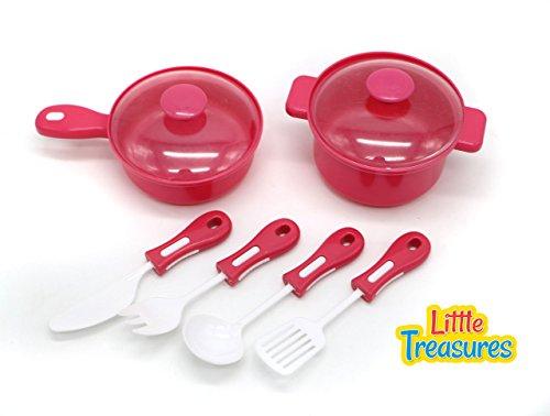 Little Treasures Kitchen Mini Cooking Pots Utensils Happy Chef Pretend Play Pot Pan Essential Toy Set