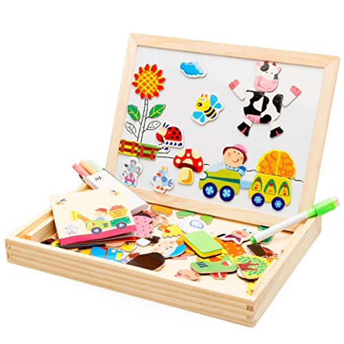 Joyeee Multi-Functional Magnetic Wooden Drawing Board Games with Tray - Early Educational Chalkboard Easel Toys Dry Erase Boards Animals Jigsaw Puzzle - Perfect Christmas Gift for Your Kids