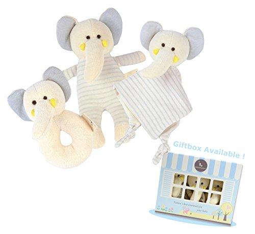 DorDor GorGor ORGANIC Elephant Plush Toy Gift Set 3 Pack