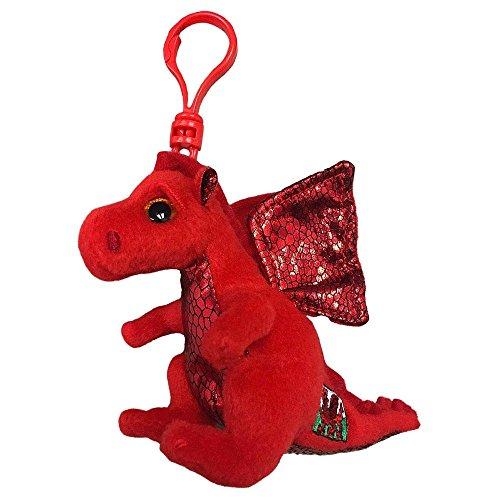 Ty Beanie Babie 3 Key Clip - Y Ddraig Goch Red Welsh Dragon