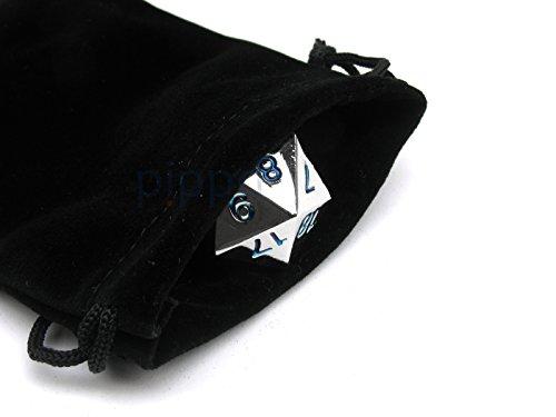 Large 22mm Zinc Metal Alloy Countdown D20 Dice w Black Bag 1 Pc - Blue Numbers