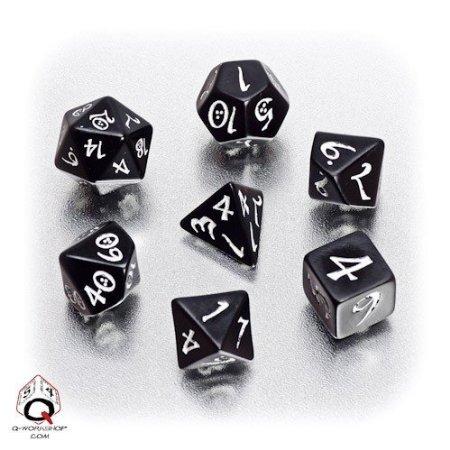 Q-Workshop Polyhedral 7-Die Set Elven Black White Classic Elvish Dice