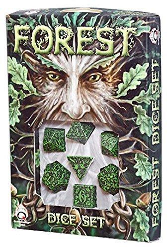 Q-Workshop Polyhedral 7-Die Set Green Black Forest Dice by Q Workshop