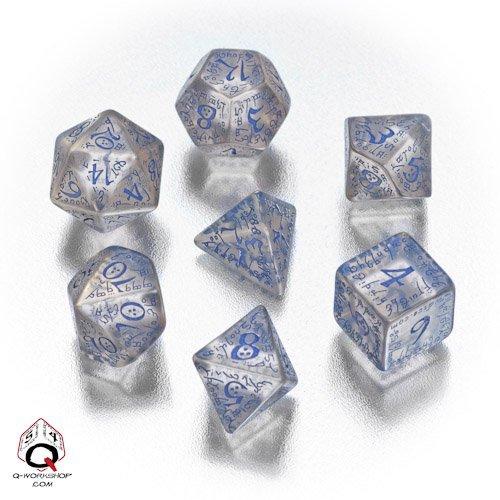 Q-Workshop - Set of Transparent Blue Elvish Dice by Q-Workshop