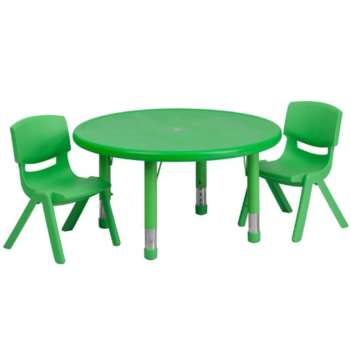 Flash Furniture 33 Round Adjustable Green Plastic Activity Table Set with 2 School Stack Chairs