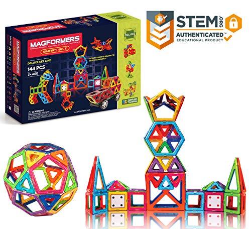 Magformers Smart Set 144-piece  Deluxe Building Set Magnetic Building Blocks Educational Magnetic Tiles Magnetic Building STEM Toy Set