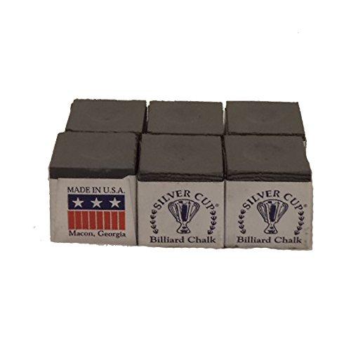 Half Dozen Charcoal Silver Cup Pool Cue Chalk
