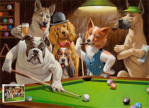 Logicpuz Dogs Playing Pool Billiards Snooker Jigsaw Puzzle Kids Adults Unique Design 500 Pieces Wooden Puzzles