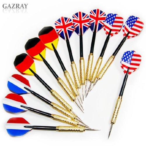 Copper Steel Needle Tip Dart Darts With National Flag Flight Flights Set 4 Styles 12 pcs